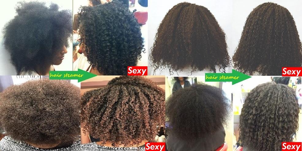 Hair steamer avant-apres